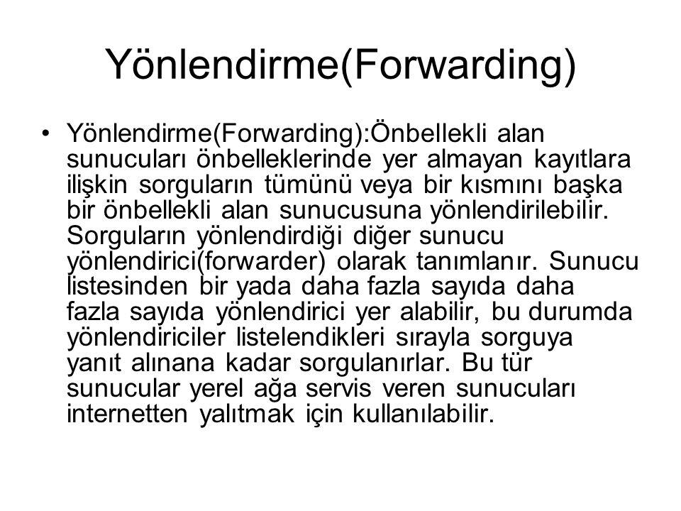 Yönlendirme(Forwarding) •Yönlendirme(Forwarding):Önbellekli alan sunucuları önbelleklerinde yer almayan kayıtlara ilişkin sorguların tümünü veya bir k