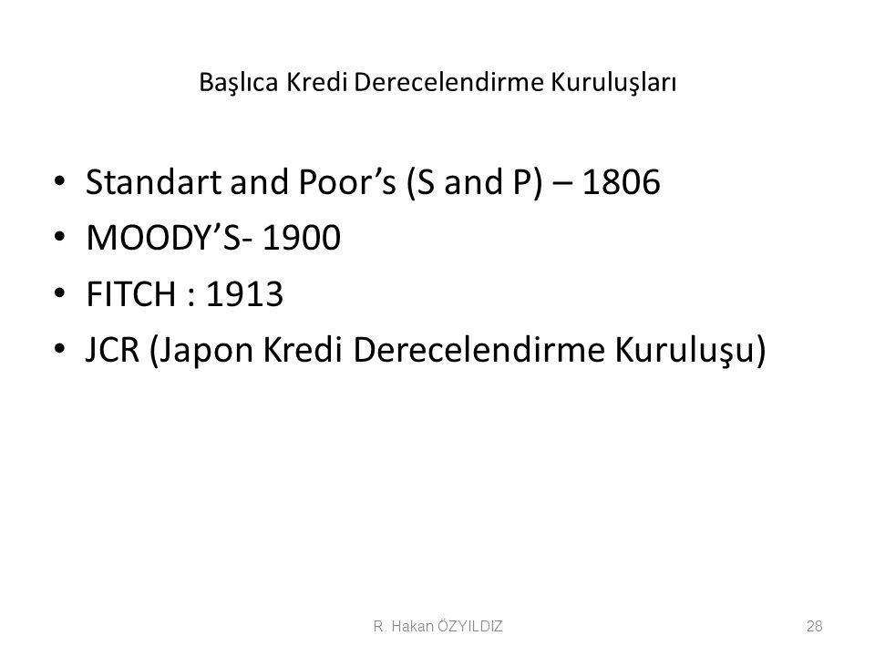 Başlıca Kredi Derecelendirme Kuruluşları • Standart and Poor's (S and P) – 1806 • MOODY'S- 1900 • FITCH : 1913 • JCR (Japon Kredi Derecelendirme Kurul