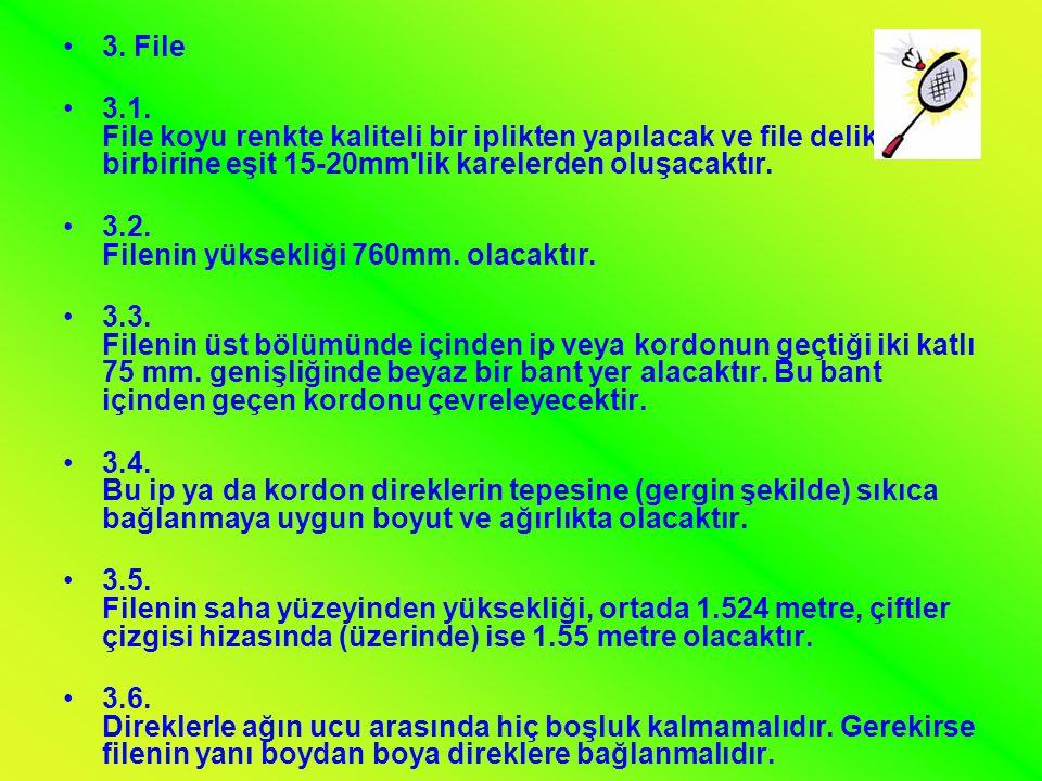 •3. File •3.1. File koyu renkte kaliteli bir iplikten yapılacak ve file delikleri birbirine eşit 15-20mm'lik karelerden oluşacaktır. •3.2. Filenin yük