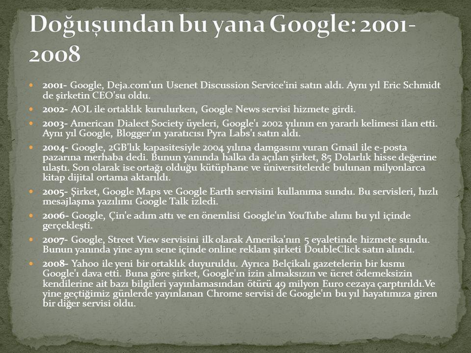  2001- Google, Deja.com'un Usenet Discussion Service'ini satın aldı. Aynı yıl Eric Schmidt de şirketin CEO'su oldu.  2002- AOL ile ortaklık kurulurk