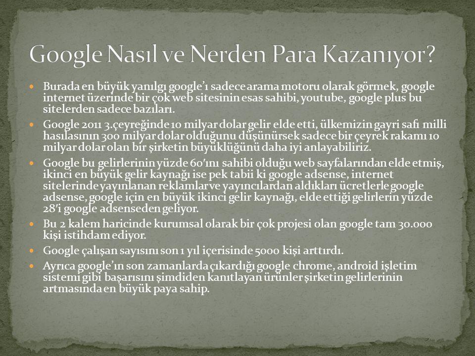  Burada en büyük yanılgı google'ı sadece arama motoru olarak görmek, google internet üzerinde bir çok web sitesinin esas sahibi, youtube, google plus