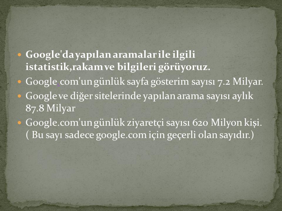  Google'da yapılan aramalar ile ilgili istatistik,rakam ve bilgileri görüyoruz.  Google.com'un günlük sayfa gösterim sayısı 7.2 Milyar..  Google ve