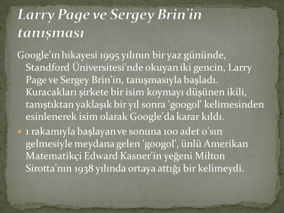 Google'ın hikayesi 1995 yılının bir yaz gününde, Standford Üniversitesi'nde okuyan iki gencin, Larry Page ve Sergey Brin'in, tanışmasıyla başladı. Kur