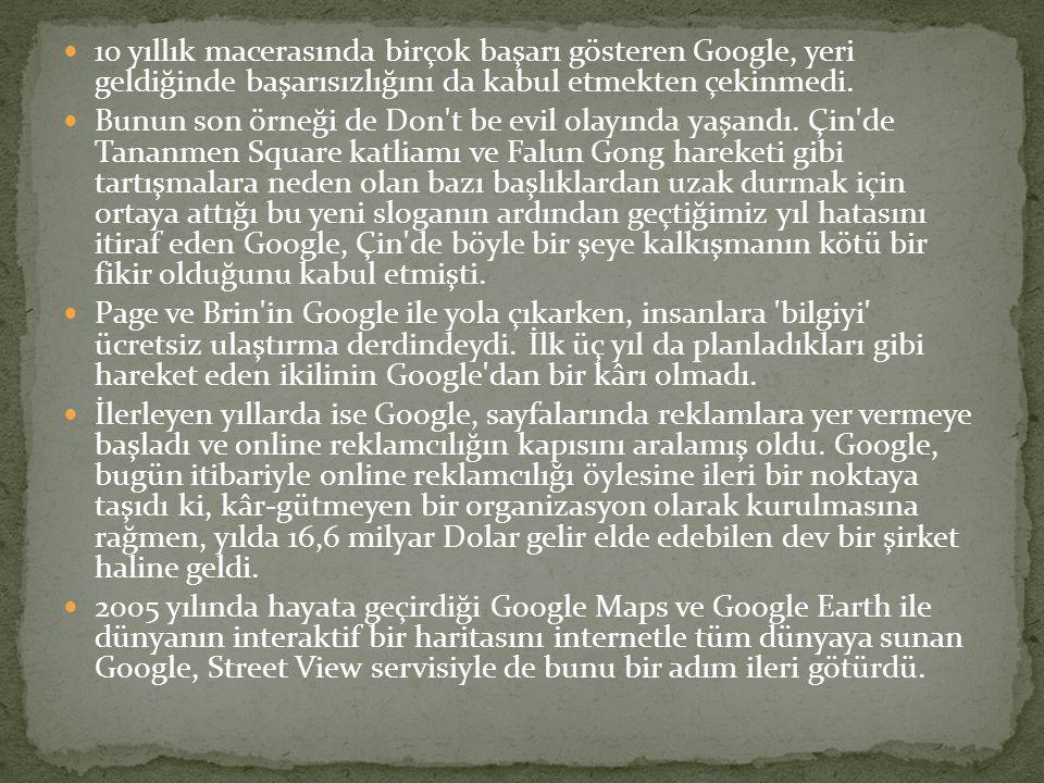  10 yıllık macerasında birçok başarı gösteren Google, yeri geldiğinde başarısızlığını da kabul etmekten çekinmedi.  Bunun son örneği de Don't be evi