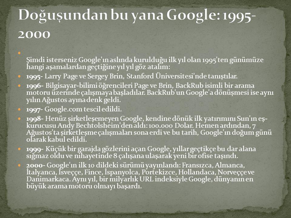  Şimdi isterseniz Google'ın aslında kurulduğu ilk yıl olan 1995'ten günümüze hangi aşamalardan geçtiğine yıl yıl göz atalım:  1995- Larry Page ve Se