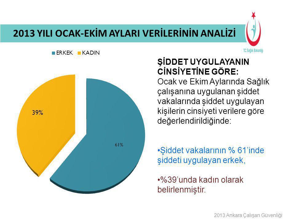 Buraya Bilgilendirme Başlığı Gelecek 2013 Ankara Çalışan Güvenliği ŞİDDET UYGULAYANIN CİNSİYETİNE GÖRE: Ocak ve Ekim Aylarında Sağlık çalışanına uygul