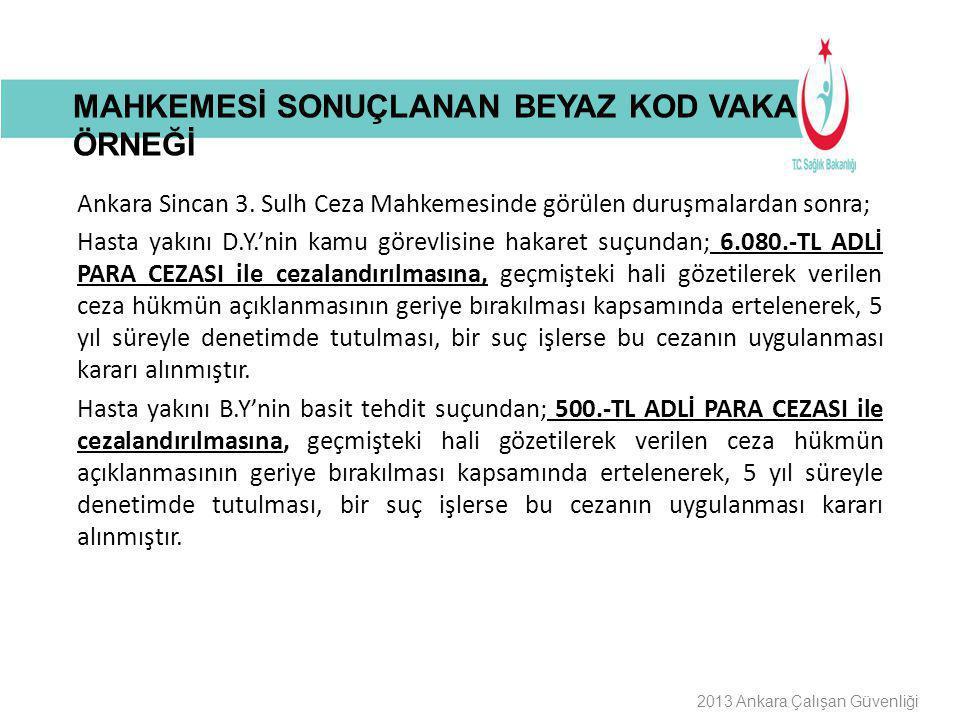 Buraya Bilgilendirme Başlığı Gelecek 2013 Ankara Çalışan Güvenliği Ankara Sincan 3. Sulh Ceza Mahkemesinde görülen duruşmalardan sonra; Hasta yakını D