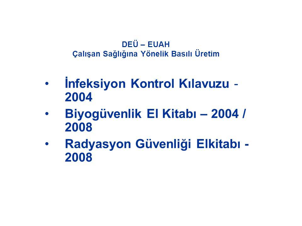 DEÜ – EUAH Çalışan Sağlığına Yönelik Basılı Üretim •İnfeksiyon Kontrol Kılavuzu - 2004 •Biyogüvenlik El Kitabı – 2004 / 2008 •Radyasyon Güvenliği Elki