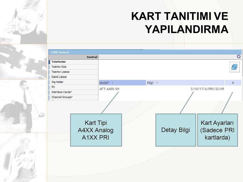KART TANITIMI VE YAPILANDIRMA Kart Tipi A4XX Analog A1XX PRI Detay Bilgi Kart Ayarları (Sadece PRI kartlarda)