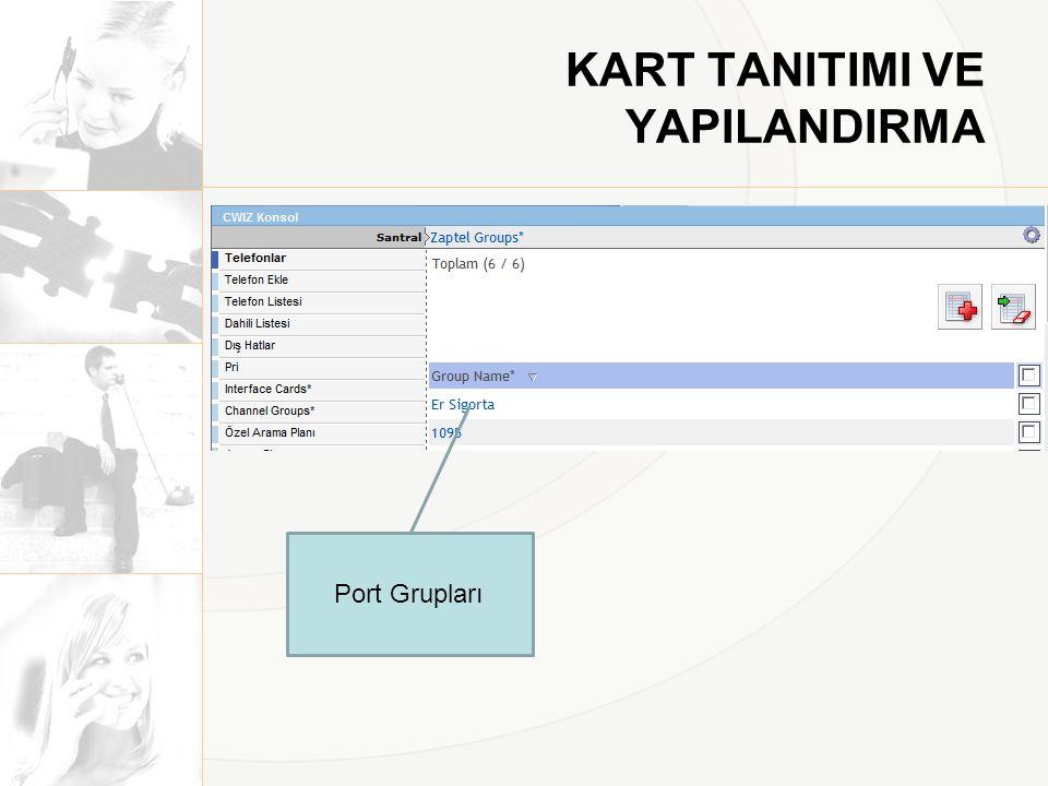 KART TANITIMI VE YAPILANDIRMA Port Grupları