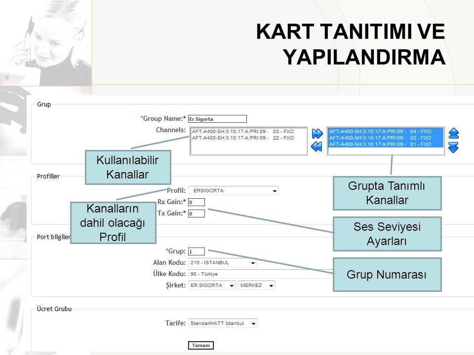 KART TANITIMI VE YAPILANDIRMA Kullanılabilir Kanallar Grupta Tanımlı Kanallar Ses Seviyesi Ayarları Grup Numarası Kanalların dahil olacağı Profil