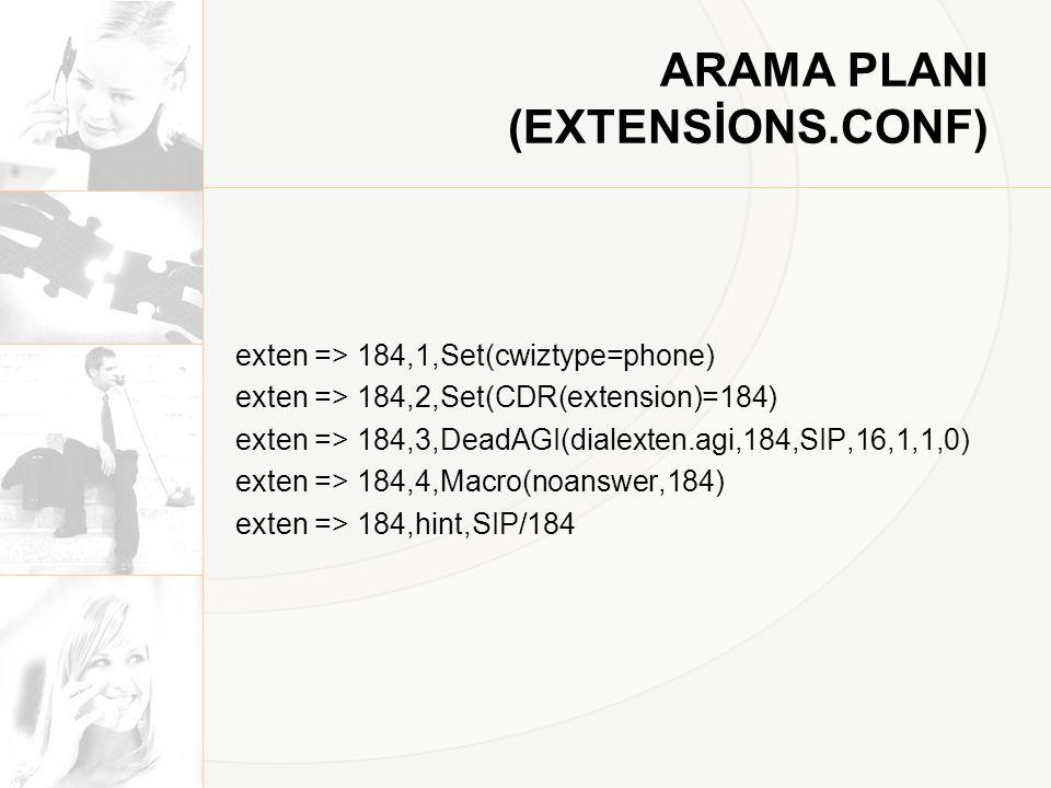 ARAMA PLANI (EXTENSİONS.CONF) exten => 184,1,Set(cwiztype=phone) exten => 184,2,Set(CDR(extension)=184) exten => 184,3,DeadAGI(dialexten.agi,184,SIP,1