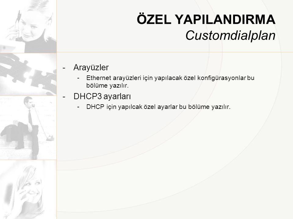 ÖZEL YAPILANDIRMA Customdialplan -Arayüzler -Ethernet arayüzleri için yapılacak özel konfigürasyonlar bu bölüme yazılır. -DHCP3 ayarları -DHCP için ya
