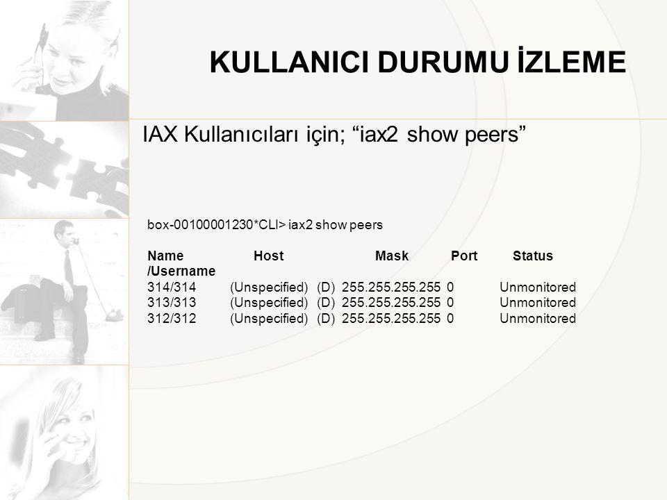 KULLANICI DURUMU İZLEME IAX Kullanıcıları için; iax2 show peers box-00100001230*CLI> iax2 show peers Name Host Mask Port Status /Username 314/314 (Unspecified) (D) 255.255.255.255 0 Unmonitored 313/313 (Unspecified) (D) 255.255.255.255 0 Unmonitored 312/312 (Unspecified) (D) 255.255.255.255 0 Unmonitored
