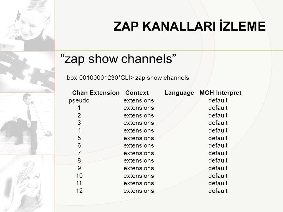 """ZAP KANALLARI İZLEME """"zap show channels"""" box-00100001230*CLI> zap show channels Chan Extension Context Language MOH Interpret pseudo extensions defaul"""