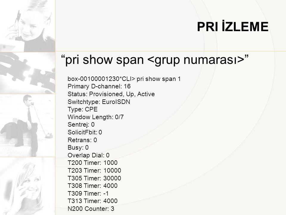 PRI İZLEME pri show span box-00100001230*CLI> pri show span 1 Primary D-channel: 16 Status: Provisioned, Up, Active Switchtype: EuroISDN Type: CPE Window Length: 0/7 Sentrej: 0 SolicitFbit: 0 Retrans: 0 Busy: 0 Overlap Dial: 0 T200 Timer: 1000 T203 Timer: 10000 T305 Timer: 30000 T308 Timer: 4000 T309 Timer: -1 T313 Timer: 4000 N200 Counter: 3
