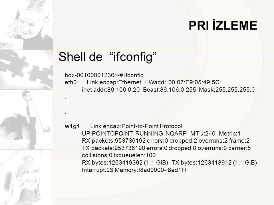 """PRI İZLEME Shell de """"ifconfig"""" box-00100001230:~# ifconfig eth0 Link encap:Ethernet HWaddr 00:07:E9:05:49:5C inet addr:89.106.0.20 Bcast:89.106.0.255"""