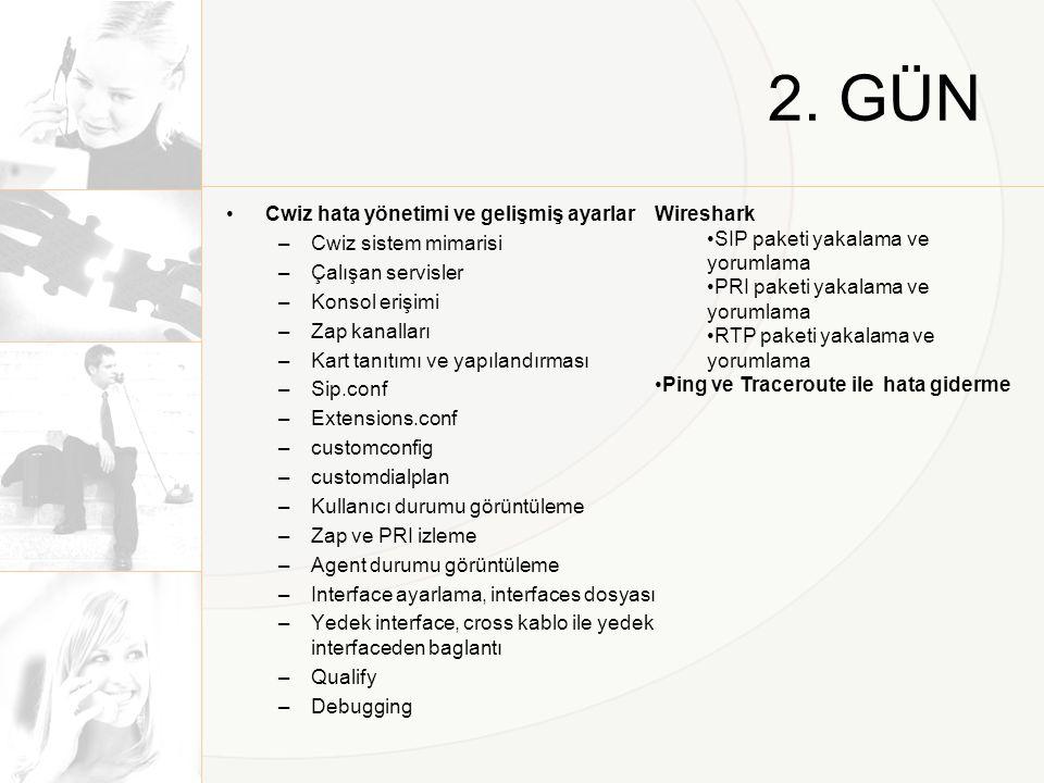 2. GÜN •Cwiz hata yönetimi ve gelişmiş ayarlar –Cwiz sistem mimarisi –Çalışan servisler –Konsol erişimi –Zap kanalları –Kart tanıtımı ve yapılandırmas