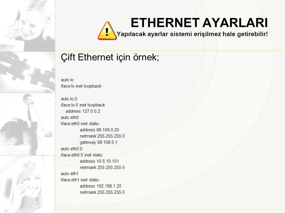 ETHERNET AYARLARI Yapılacak ayarlar sistemi erişilmez hale getirebilir! Çift Ethernet için örnek; auto lo iface lo inet loopback auto lo:0 iface lo:0