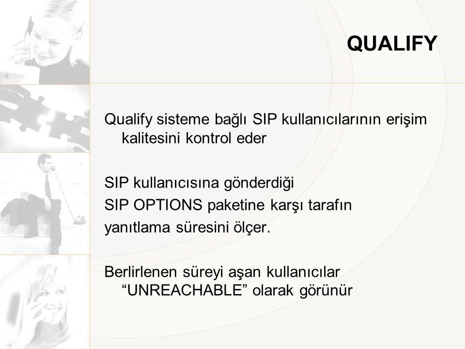 QUALIFY Qualify sisteme bağlı SIP kullanıcılarının erişim kalitesini kontrol eder SIP kullanıcısına gönderdiği SIP OPTIONS paketine karşı tarafın yanı