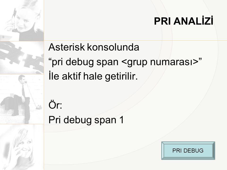 "PRI ANALİZİ Asterisk konsolunda ""pri debug span "" İle aktif hale getirilir. Ör: Pri debug span 1 PRI DEBUG"