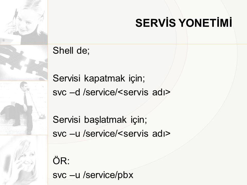 SERVİS YONETİMİ Shell de; Servisi kapatmak için; svc –d /service/ Servisi başlatmak için; svc –u /service/ ÖR: svc –u /service/pbx