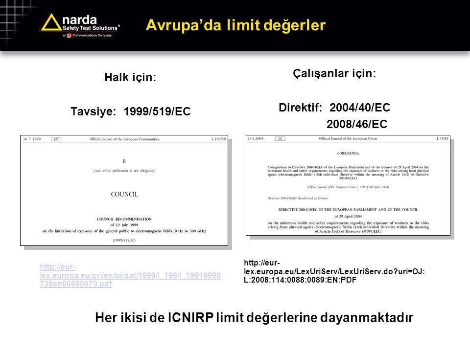 Avrupa'da limit değerler Halk için: Tavsiye: 1999/519/EC http://eur- lex.europa.eu/pri/en/oj/dat/1999/l_199/l_19919990 730en00590070.pdf Çalışanlar iç