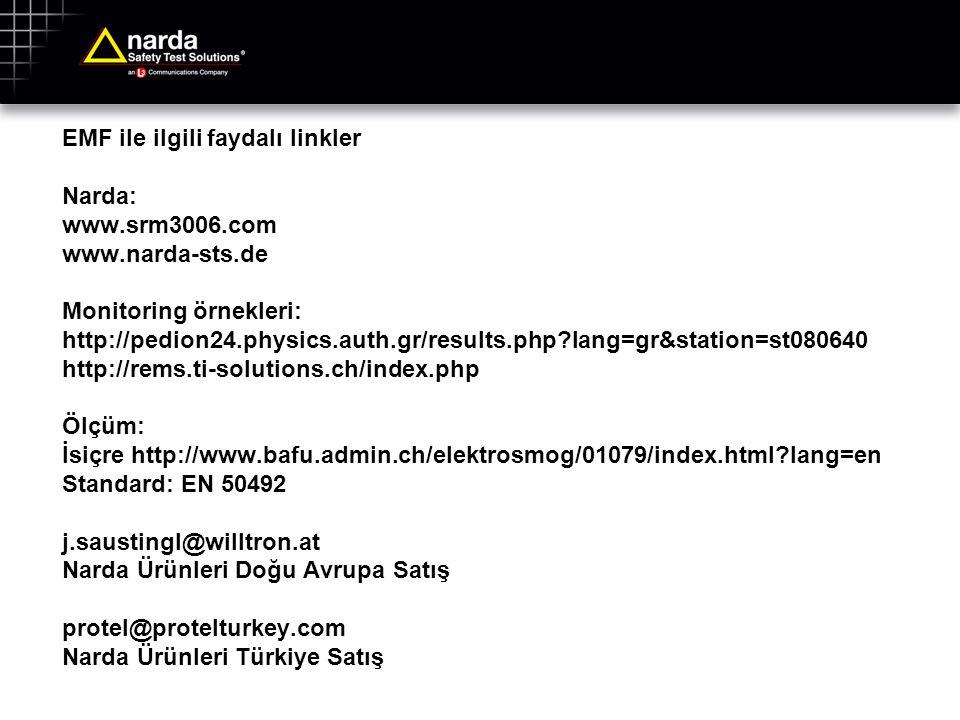 EMF ile ilgili faydalı linkler Narda: www.srm3006.com www.narda-sts.de Monitoring örnekleri: http://pedion24.physics.auth.gr/results.php?lang=gr&stati