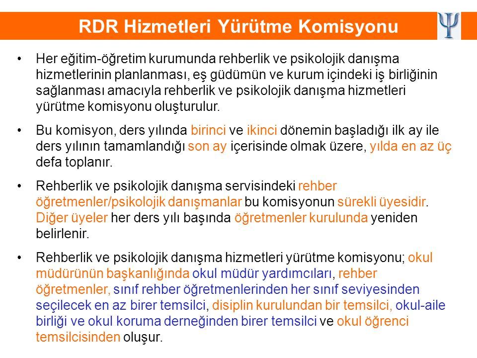 RDR Hizmetleri Yürütme Komisyonu •Her eğitim-öğretim kurumunda rehberlik ve psikolojik danışma hizmetlerinin planlanması, eş güdümün ve kurum içindeki