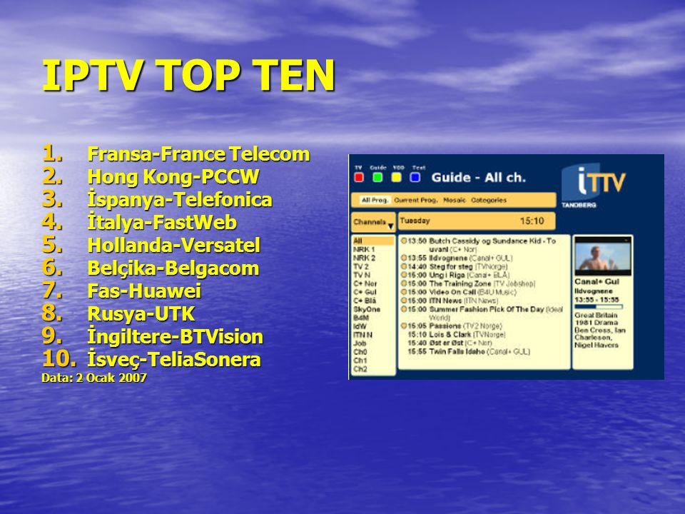 IPTV TOP TEN 1. Fransa-France Telecom 2. Hong Kong-PCCW 3. İspanya-Telefonica 4. İtalya-FastWeb 5. Hollanda-Versatel 6. Belçika-Belgacom 7. Fas-Huawei