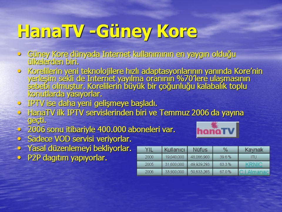 HanaTV -Güney Kore • Güney Kore dünyada Internet kullanımının en yaygın olduğu ülkelerden biri. • Korelilerin yeni teknolojilere hızlı adaptasyonların