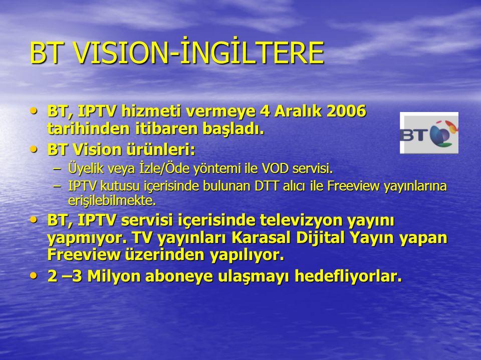BT VISION-İNGİLTERE • BT, IPTV hizmeti vermeye 4 Aralık 2006 tarihinden itibaren başladı. • BT Vision ürünleri: –Üyelik veya İzle/Öde yöntemi ile VOD