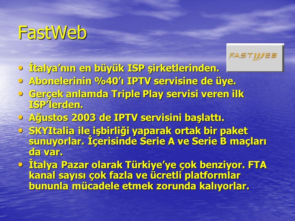FastWeb • İtalya'nın en büyük ISP şirketlerinden. • Abonelerinin %40'ı IPTV servisine de üye. • Gerçek anlamda Triple Play servisi veren ilk ISP'lerde