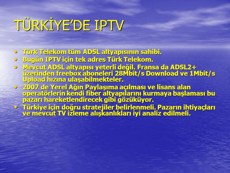 TÜRKİYE'DE IPTV • Türk Telekom tüm ADSL altyapısının sahibi. • Bugün IPTV için tek adres Türk Telekom. • Mevcut ADSL altyapısı yeterli değil. Fransa d