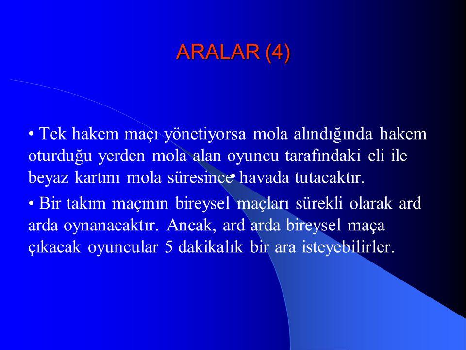 ARALAR (4) • Tek hakem maçı yönetiyorsa mola alındığında hakem oturduğu yerden mola alan oyuncu tarafındaki eli ile beyaz kartını mola süresince havad