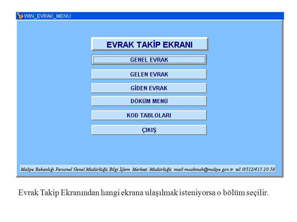 •genel_evrak_tkip_1.pnggenel_evrak_tkip_1.png GENEL EVRAK Defterdarlığa gelen evrakların giriş ve sorgu işlemlerinin yapıldığı ekrandır.