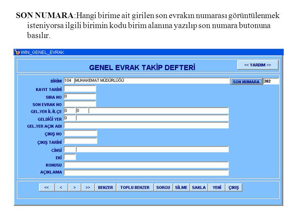 SERVİSLERE GÖNDERİLEN EVRAKLAR : Gelen evrak ekranından girilen evraklar her servis ayrı sayfada olmak üzere dökümü alınır.