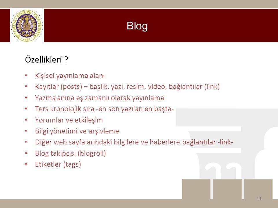 Blog Özellikleri ? • Kişisel yayınlama alanı • Kayıtlar (posts) – başlık, yazı, resim, video, bağlantılar (link) • Yazma anına eş zamanlı olarak yayın