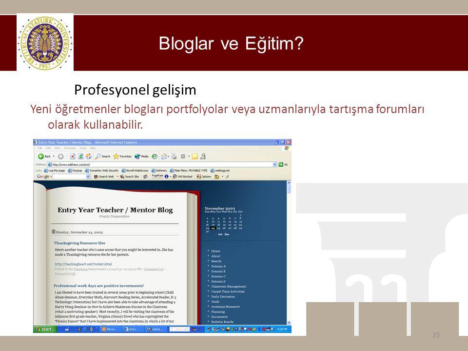 Bloglar ve Eğitim? 25 Profesyonel gelişim Yeni öğretmenler blogları portfolyolar veya uzmanlarıyla tartışma forumları olarak kullanabilir.