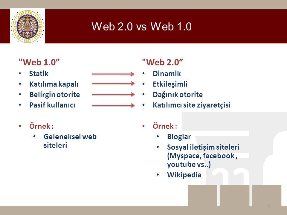 Web 1.0 • Statik • Katılıma kapalı • Belirgin otorite • Pasif kullanıcı • Örnek : • Geleneksel web siteleri Web 2.0 vs Web 1.0 Web 2.0 • Dinamik • Etkileşimli • Dağınık otorite • Katılımcı site ziyaretçisi • Örnek : • Bloglar • Sosyal iletişim siteleri (Myspace, facebook, youtube vs..) • Wikipedia 4