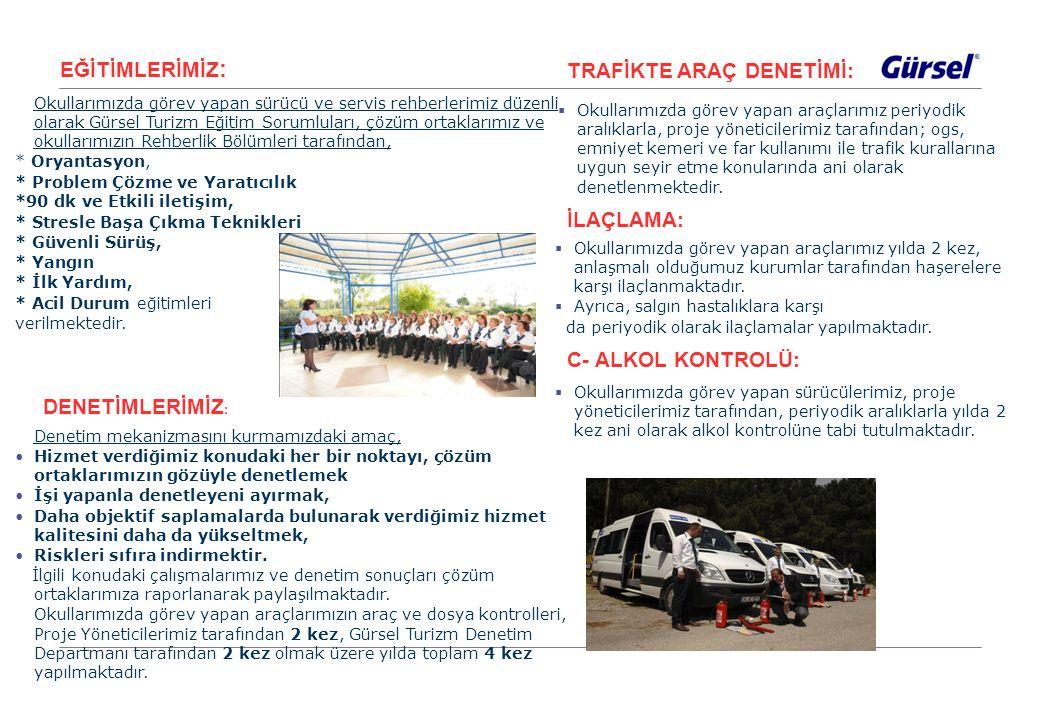 EĞİTİMLERİMİZ : Okullarımızda görev yapan sürücü ve servis rehberlerimiz düzenli olarak Gürsel Turizm Eğitim Sorumluları, çözüm ortaklarımız ve okulla