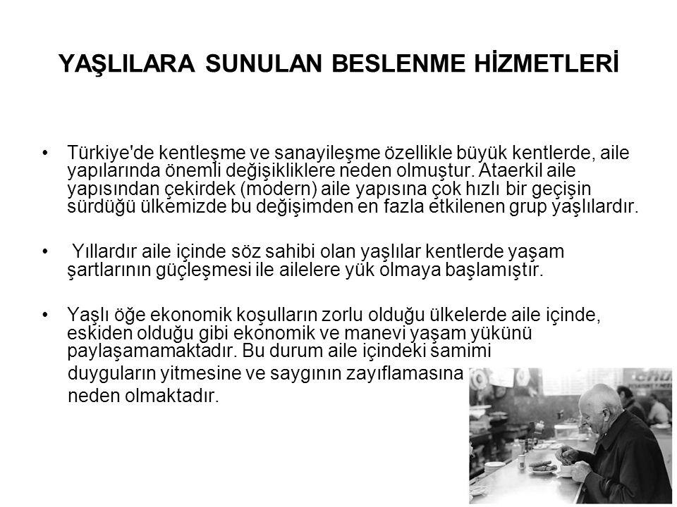 12 YAŞLILARA SUNULAN BESLENME HİZMETLERİ •Türkiye'de kentleşme ve sanayileşme özellikle büyük kentlerde, aile yapılarında önemli değişikliklere neden