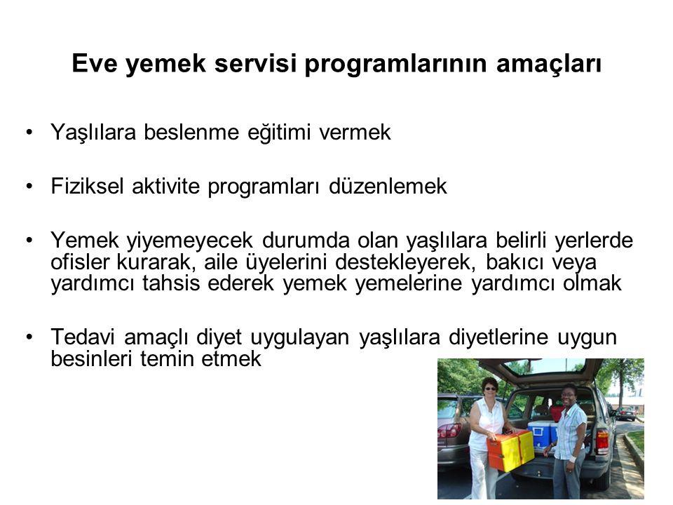 22 Eve yemek servisi programlarının amaçları •Yaşlılara beslenme eğitimi vermek •Fiziksel aktivite programları düzenlemek •Yemek yiyemeyecek durumda o