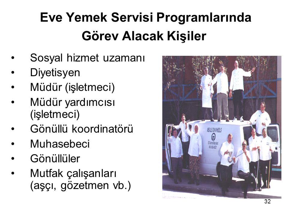 32 Eve Yemek Servisi Programlarında Görev Alacak Kişiler •Sosyal hizmet uzamanı •Diyetisyen •Müdür (işletmeci) •Müdür yardımcısı (işletmeci) •Gönüllü