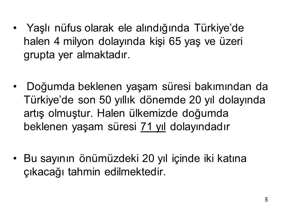 5 • Yaşlı nüfus olarak ele alındığında Türkiye'de halen 4 milyon dolayında kişi 65 yaş ve üzeri grupta yer almaktadır. • Doğumda beklenen yaşam süresi