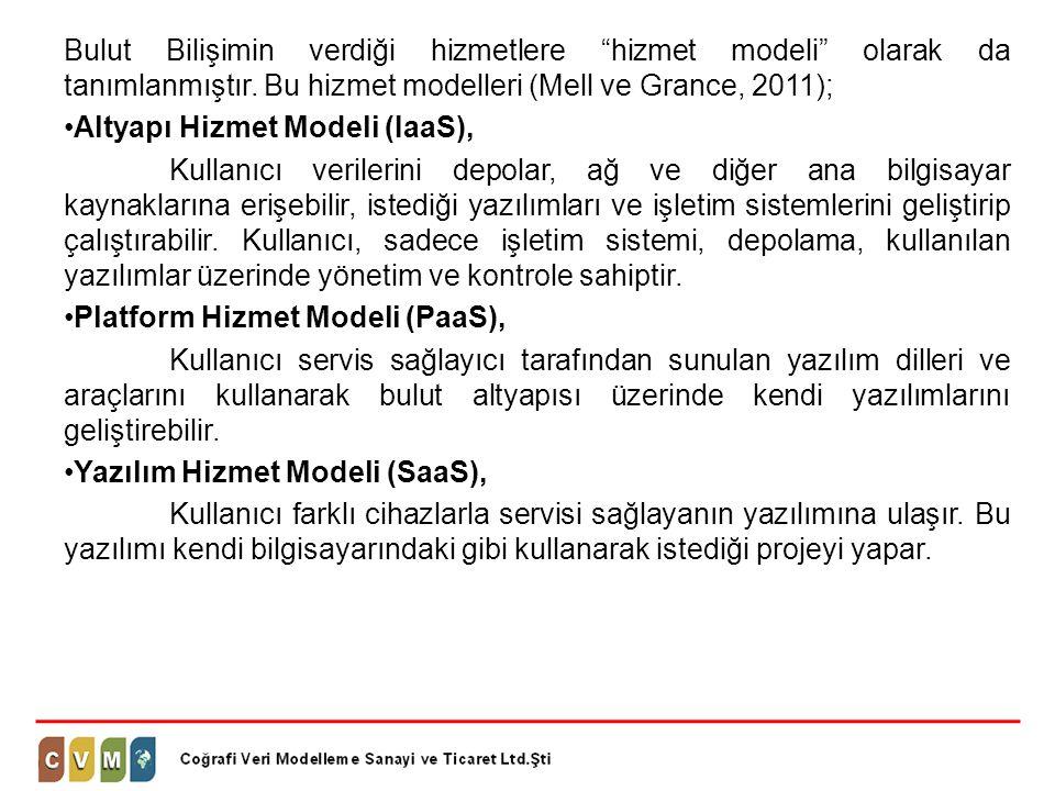 """Bulut Bilişimin verdiği hizmetlere """"hizmet modeli"""" olarak da tanımlanmıştır. Bu hizmet modelleri (Mell ve Grance, 2011); •Altyapı Hizmet Modeli (IaaS)"""