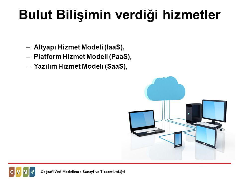Bulut Bilişimin verdiği hizmetler –Altyapı Hizmet Modeli (IaaS), –Platform Hizmet Modeli (PaaS), –Yazılım Hizmet Modeli (SaaS),