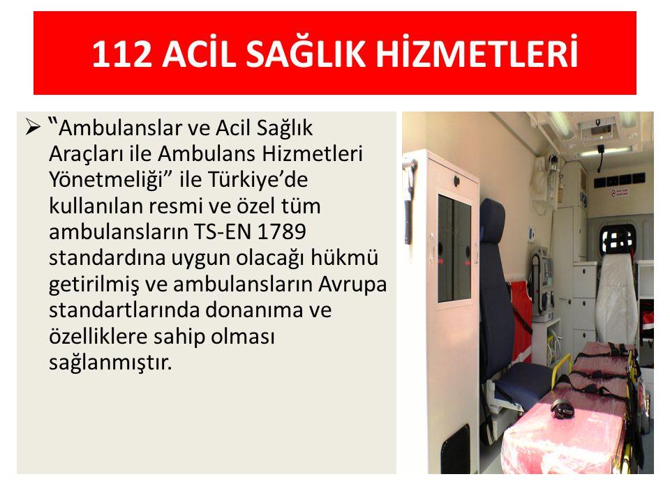 """112 ACİL SAĞLIK HİZMETLERİ  """" Ambulanslar ve Acil Sağlık Araçları ile Ambulans Hizmetleri Yönetmeliği"""" ile Türkiye'de kullanılan resmi ve özel tüm am"""