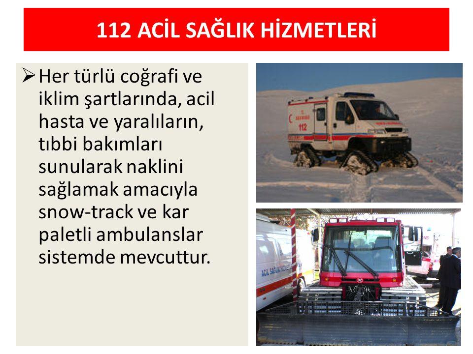 112 ACİL SAĞLIK HİZMETLERİ  Her türlü coğrafi ve iklim şartlarında, acil hasta ve yaralıların, tıbbi bakımları sunularak naklini sağlamak amacıyla sn
