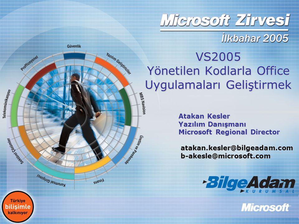 VS2005 Yönetilen Kodlarla Office Uygulamaları Geliştirmek Atakan Kesler Yazılım Danışmanı Microsoft Regional Director atakan.kesler@bilgeadam.com atak